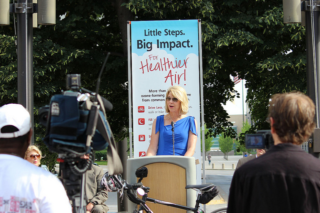 Omaha Mayor Jean Stothert speaks about the importance of ozone levels and economic development at a news conference Thursday.