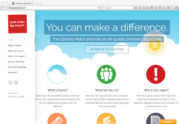 The homepage of the redesigned Little Steps Big Impact website.